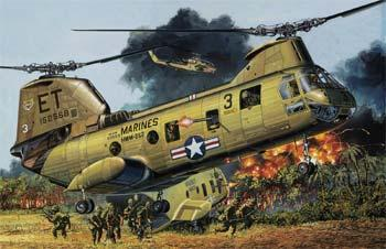 model helicopters,model helicopter,1/48 CH-46A/D USMC/Vietnam Heli