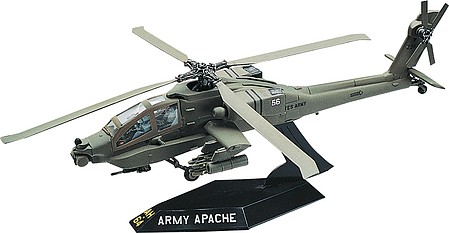 scale model aircraft,plastic airplane model kit,Apache Helicopter -- Snap Tite Plastic Model Aircraft Kit -- 1/72 Scale -- #851183