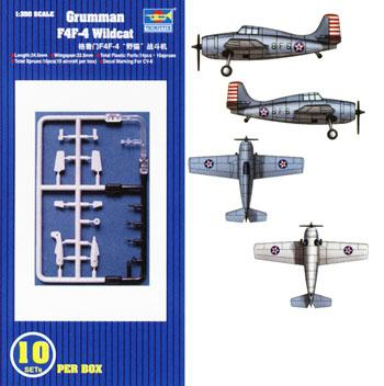 airplane model kits,F4F-4 Wildcat Aircraft Carrier Fleet (10) -- Plastic Model Airplane Kit -- 1/350 Scale -- #06202